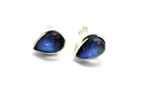 Teardrop Rainbow Moonstone Earrings Silver Stud small